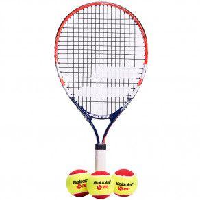Теннисная ракетка детская 5-7 лет Babolat KIT RG/FO JR21 + 3 RED FELT BALLS 190007/209